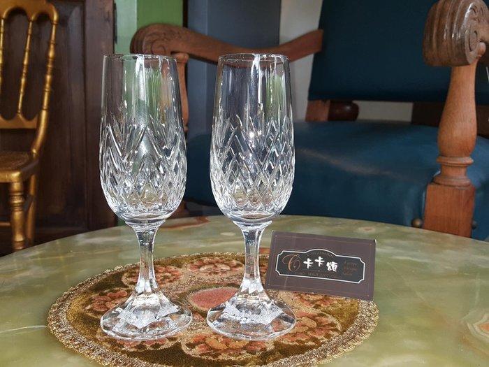 【卡卡頌 歐洲跳蚤市場/歐洲古董】歐洲老件_法國花紋水晶雕刻玻璃酒杯 水晶玻璃杯 高腳杯 g0444