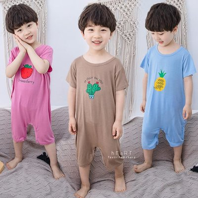 【可愛村】 夏季薄款可愛印花連身睡衣 連身睡衣 睡衣 兒童睡衣 童裝 居家服
