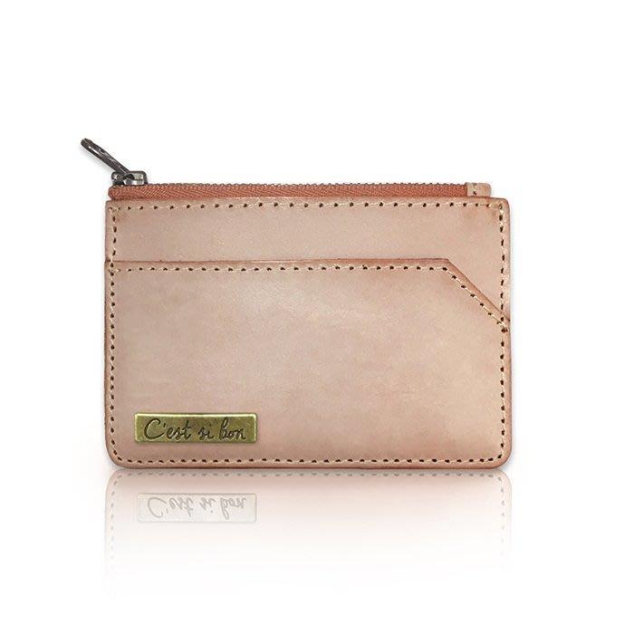 C'est Si Bon|【現貨。免運】進口霧蠟皮真皮零錢包/名片夾/票卡夾-駝色 禮品 盒裝
