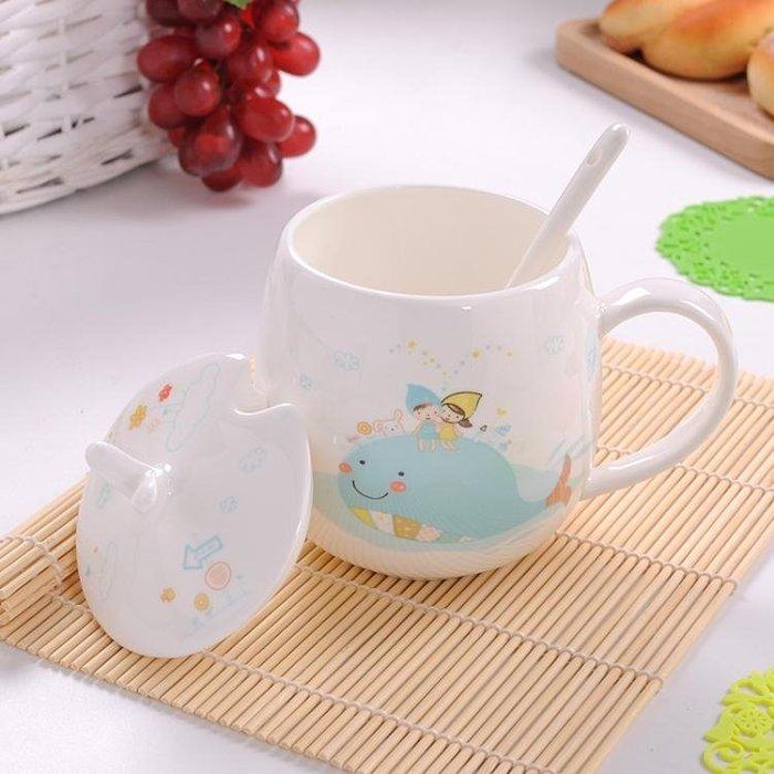 創意卡通可愛水杯陶瓷帶蓋勺兒童骨瓷牛奶咖啡杯簡約個性馬克杯子【快速出貨】