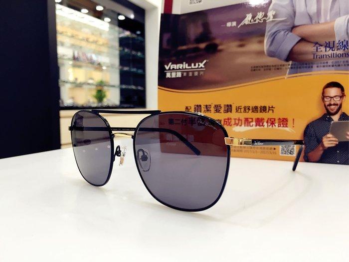 Paul Hueman 韓國熱銷品牌 黑色雷朋款雙槓飛行員金屬太陽眼鏡 PHS882D 882