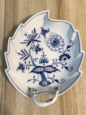 meissen 麥森 水果盤 大葉型盤 之二 長22寬19 一級品 愛買家族 藍洋蔥