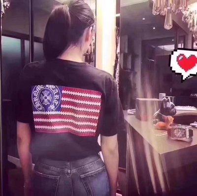 ~阿醬精品~巴黎直送Chrome Hearts經典美國國旗款💕(短袖)_黑底背面橫USA國旗滿滿匕首加十字馬蹄