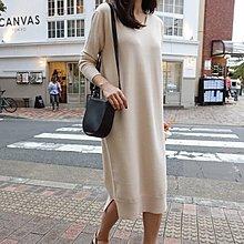 Bellee  正韓  V領側開衩混羊毛針織洋裝 連身裙  (2色)  【DG92619】