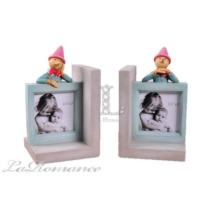 【芮洛蔓 La Romance】 德國 Heidi 童趣家飾 - 彩色小木偶相框書擋 / 兒童擺飾 / 小孩房、書房