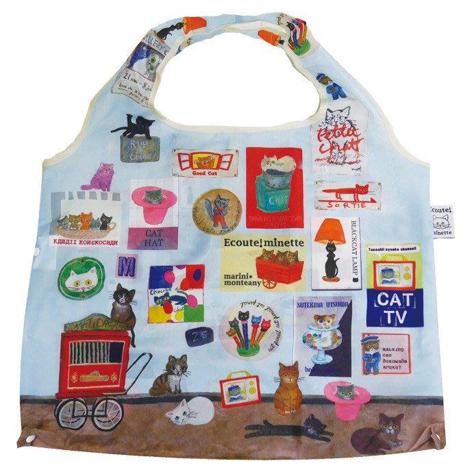 ☆Juicy☆日本 ECOUTE 法國繪本 水彩 貓 摺疊 花朵 托特包 單肩包 環保袋 購物袋 3496滿版貓咪