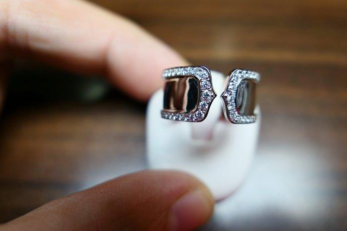 [吉宏精品交流中心]104P 天然鑽石 白K金 造型 戒指(類CARTIER 双C)