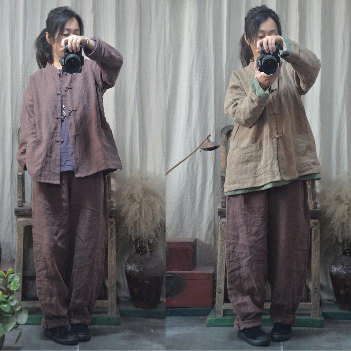 【子芸芳】原創苧麻中式手工縫製盤扣開衫小外套茶服外套