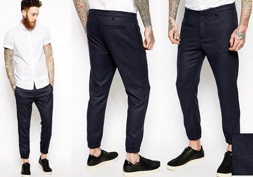 ◎美國代買◎ASOS彈性褲口側隱形拉鏈特殊褲型毛料七分西裝褲~英倫街風~大尺碼
