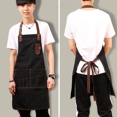 可可小鋪-牛仔帆布圍裙韓版時尚咖啡店師畫畫奶茶店廚房男女工作服定制logo
