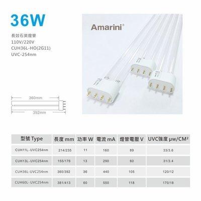 (含稅)36W-UVC254紫外線殺菌燈管2G11-HO/4Pin-H型/高透石英長效