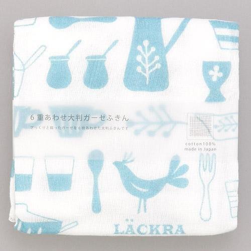 日本製 6重紗布材質 44x44cm 廚房用抹布 工作布 - 藍色、紅色