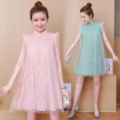 民俗風女裝 改良旗袍女夏季新款寬松網紗蕾絲拼接清新裙子小個子連衣裙