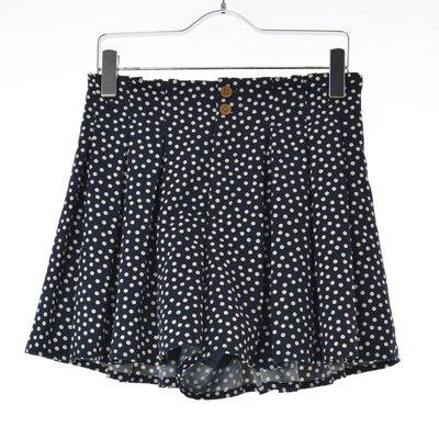 【grove】深藍水玉點點打褶短褲裙S