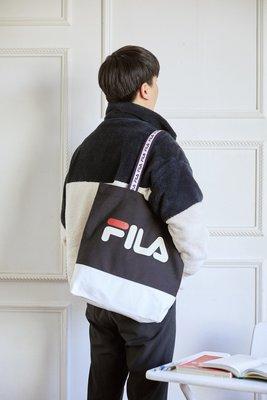 【Luxury】FILA TAPING LINEAR Shopper Bag 白 黑 帆布袋 提袋 文件袋 韓國代購