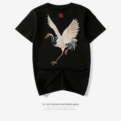 時尚服飾 夏季潮牌中國風原宿民族風日系復古仙鶴刺繡短袖T恤男裝寬松大碼