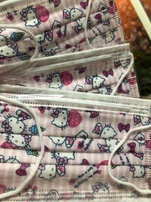 台灣現貨 特殊收藏兒童平面口罩 直條紋粉KT貓8片裝 (內含8片 直條紋粉KT貓)