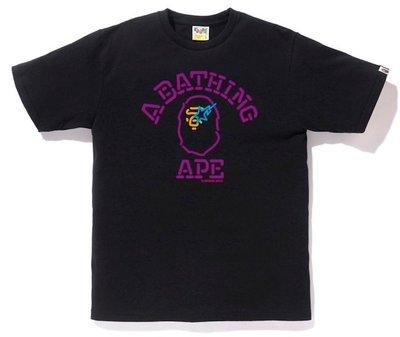 日本🇯🇵正品代購 APE BAPE 男裝 男款 霓虹猿頭 短袖上衣 T恤 休閒 潮 黑色 NEON SIGN COLLEGE TEE