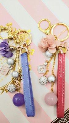 ~霸妹小貨舖~ 馬卡皮繩月光珠大閃鑽球花朵布藝吊飾包包掛飾鑰匙圈