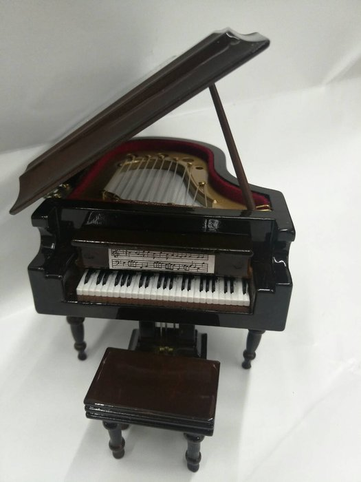 ╰☆美弦樂器☆╯深咖啡色平台鋼琴造型音樂盒