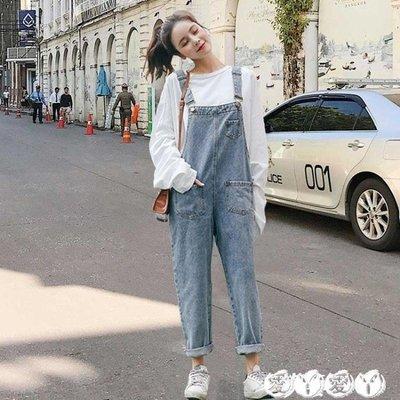 背带裤 牛仔背帶褲女學生韓版bf風寬鬆原宿森女系顯瘦減齡九分連體褲