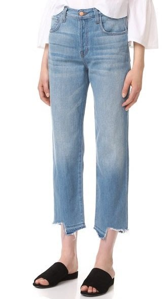◎美國代買◎J Brand Ivy剪破抽鬚頹廢褲口刷白色寛鬆褲管復古個性風高腰刷色抽鬚剪破褲口八分牛仔褲
