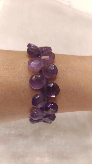 玉之軒**天然切割面水滴造型紫水晶手鏈,純銀鏈子