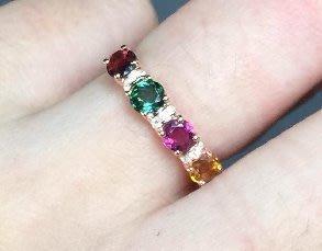 ((瑪奇亞朵的珠寶世界))超豪華尾戒款 多顆碧璽鑲崁 戒子 送禮好用大器 精緻