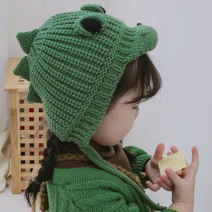 【小阿霏】兒童寶寶加絨護耳帽 多色 立體超萌恐龍造型毛線帽子 冬天毛帽 女童男童保暖秋冬帽AC87