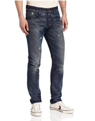 230美金現貨32腰賠售USA製 高價潮牌 HUDSON 復古藍重磅水洗破痕 窄版小直筒 牛仔褲【美國LEVI S專賣】
