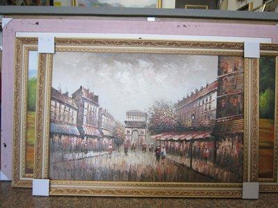 『府城畫廊-手繪油畫』歐風-巴黎凱旋門-街景畫-畫風獨特細膩-72x102-(含框價)-有實體店面-請查看關於我聯繫-
