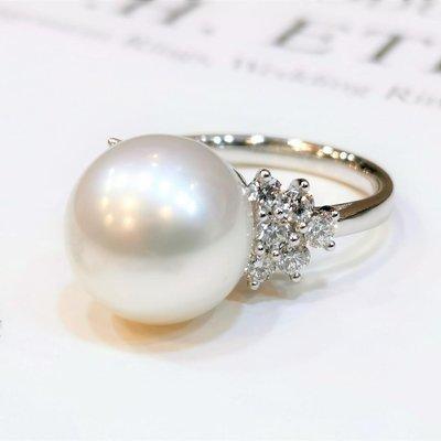 全新18K白金12mm天然南洋珍珠配60份真鑽石戒指 | HK14.5號