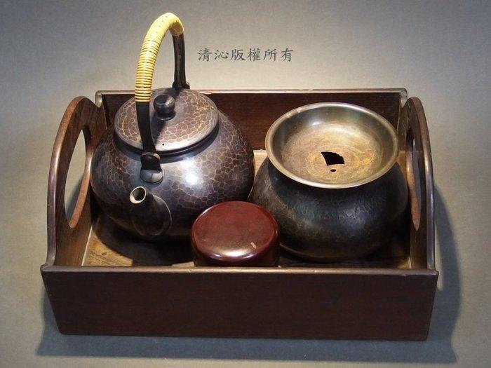 ☆清沁苑☆日本茶道具☆鎚起銅器~在銘 茶器組(湯沸+建水+茶棗+收納盒)~d175
