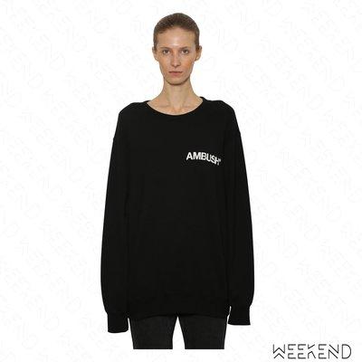 【WEEKEND】 AMBUSH 前後文字 假反穿效果 寬鬆 長袖 衛衣 大學T 黑色 18秋冬