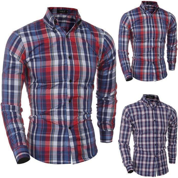 『潮范』 WS07 新款時尚小格子男士休閒修身長袖襯衫 拼接襯衫 格紋襯衫 圖案襯衫NRB1524