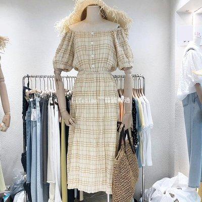 Lifetime~~韓國專櫃韓國2019夏季心機一字領露肩高腰顯瘦中長過膝格子小眾連身裙子洋裝洋裝女