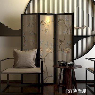 哆啦本鋪 屏風新中式實木玄關隔斷半透行動屏風客廳臥室隔斷折屏風水隔斷屏風 D655
