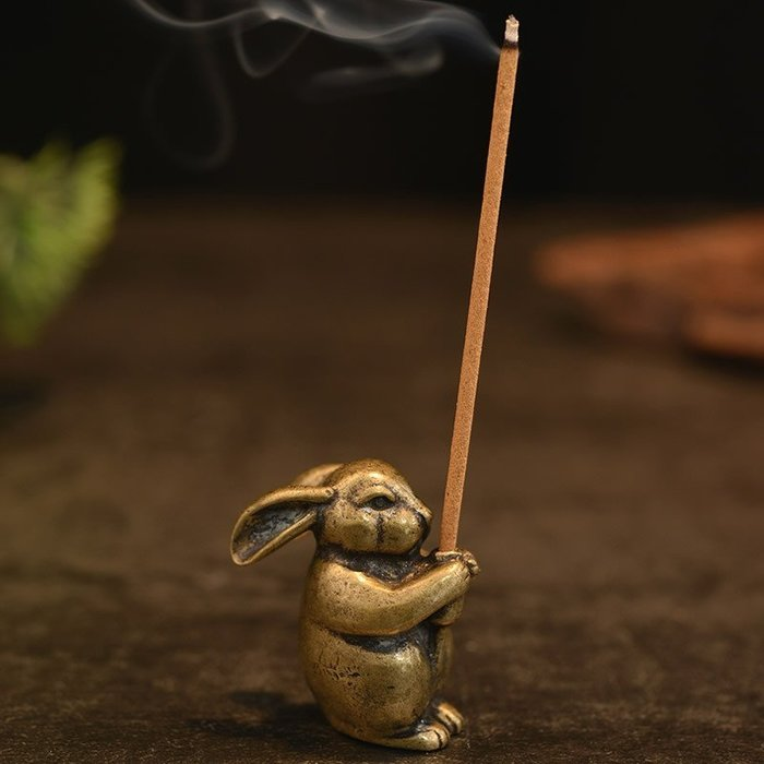 生肖兔銅香插香爐茶道配件壺蓋托茶寵擺件置架