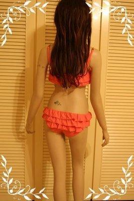 Juicy Couture Bandeau Underwire Ruffle Bikini 燻鮭魚色荷葉邊蝴蝶金扣性感比基尼
