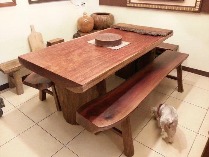 花梨原木桌.原木底座.含長椅(桌面閃電花紋極美)特價免議