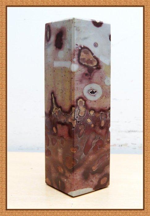[品藏閣]-精選天然[廣西柳州-草花石, 國畫石]原礦[方形印鑑]擺件(編號:A0992-08)