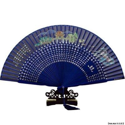 杭州王星記扇子女式折扇中國風西湖風景日式真絲絹扇古風禮品扇[如意購]