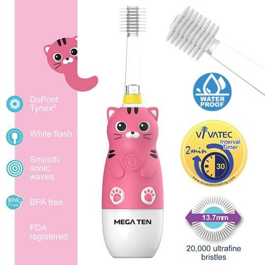 【頂級款】日本 VIVATEC Mega Ten 360度 幼童電動牙刷-貓咪