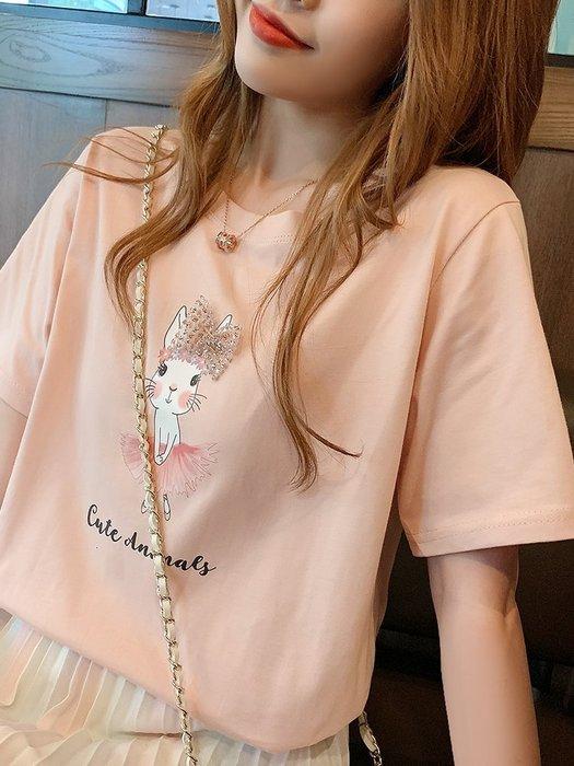 ❤Shinena 千奈公主❤  =韓國帶回=微美氣質✨小兔子亮片蝴蝶結短袖T恤   ✈2019 夏季新品H183