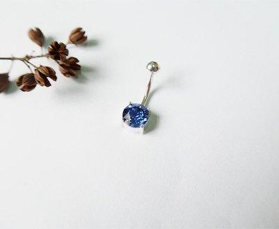 圓鑽 肚臍環 寶藍 925純銀
