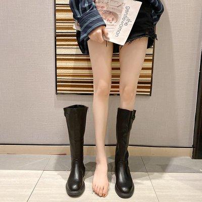 保暖女鞋 機車靴 馬丁靴 時尚百搭長靴女過膝秋冬英倫風皮帶扣小個子高筒馬丁瘦瘦靴女