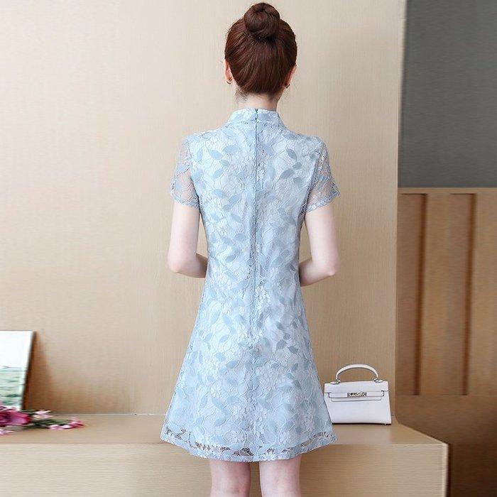 創意夏季女裝 夏季新款法國復古裙大碼遮肚蕾絲連衣裙減齡女裝胖mm改良旗袍