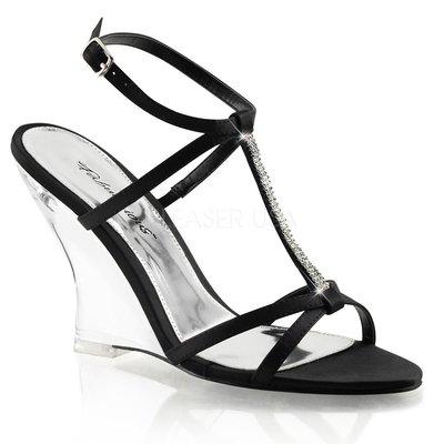 Shoes InStyle《四吋》美國品牌 FABULICIOUS 原廠正品水鑚透明緞面楔型高跟涼鞋 出清『黑色』