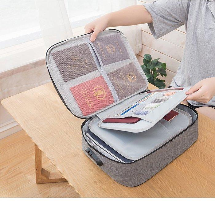 LoVus 牛津布三層防水證件旅行包收納袋收納包 (帶鎖)
