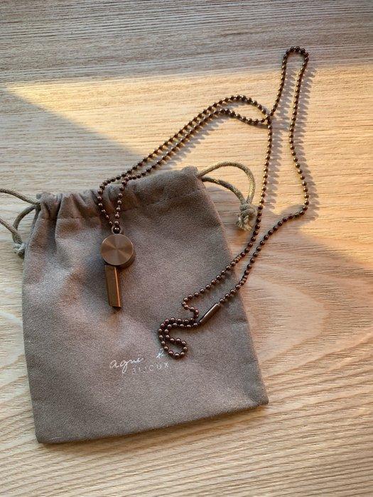 agnes.b/小b金銅色哨子長鍊、專櫃正品附絨布袋